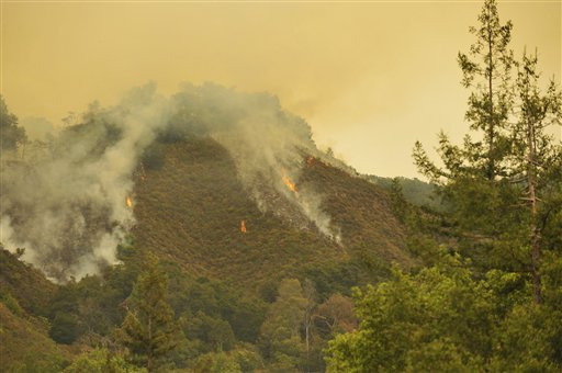 Maritime Chapparal on fire in Big Sur